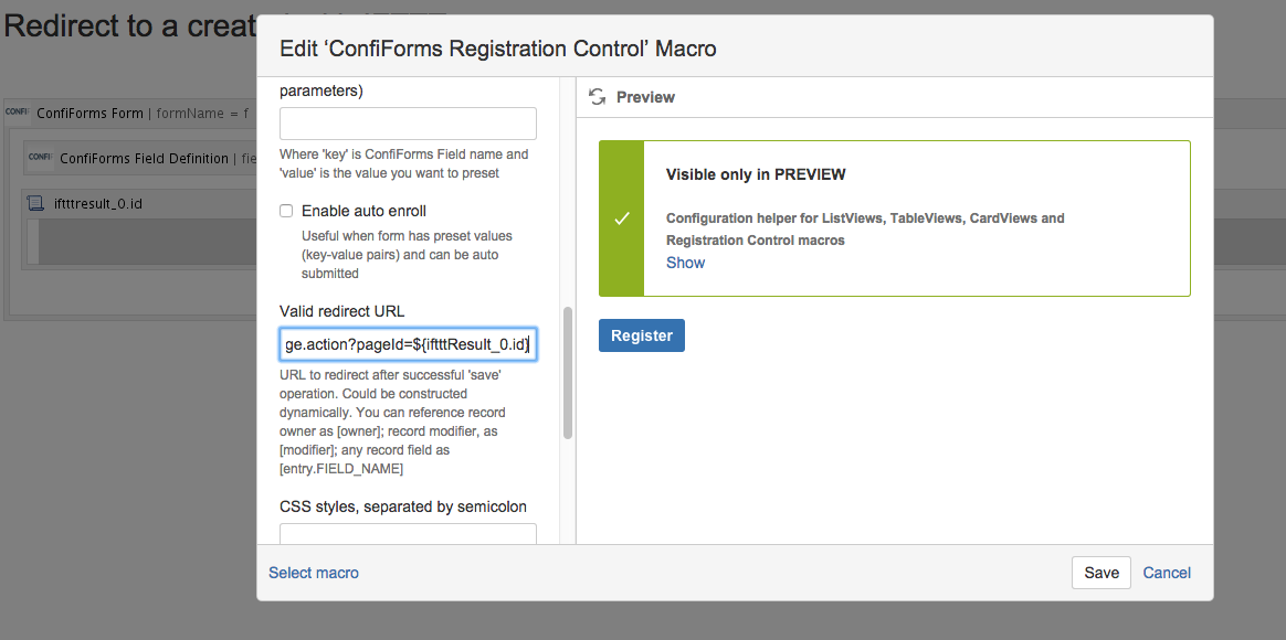 Redirect to a created with IFTTT page - ConfiForms - Vertuna