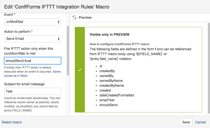 Sending email from Confluence with ConfiForms IFTTT macro